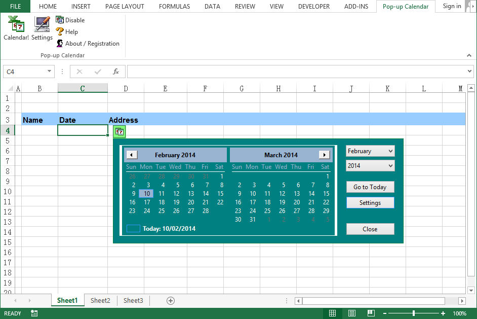 Excel Date Picker | Pop-up Excel Calendar