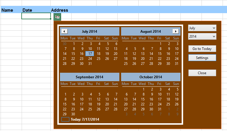 Excel calendar software