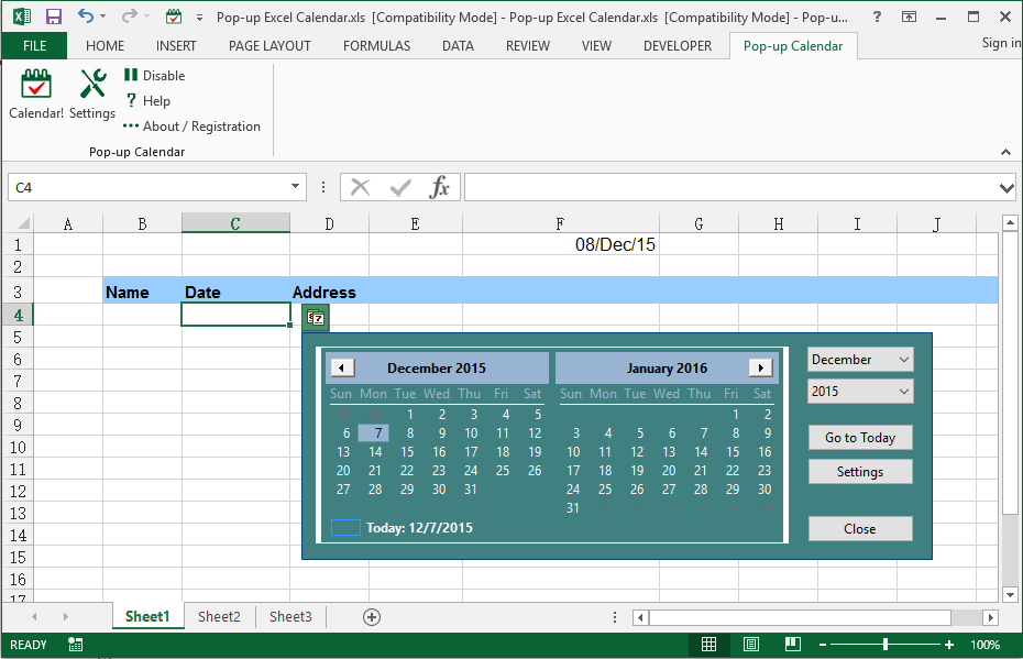 What is Excel Date Picker / Pop-up Excel Calendar?