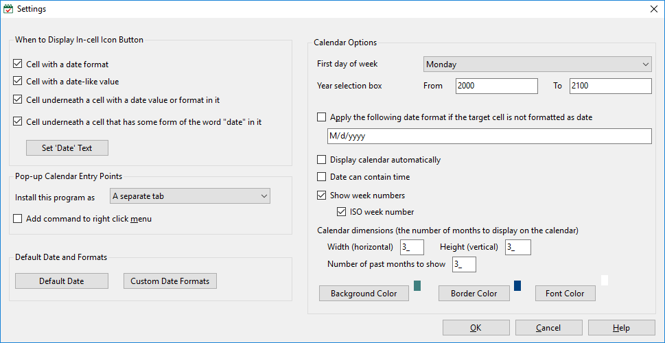 pop-up Excel Calendar Settings window in Excel 2013 and Windows 8