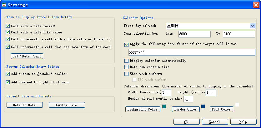 pop-up Excel Calendar Settings window in Excel 2003 and Windows XP