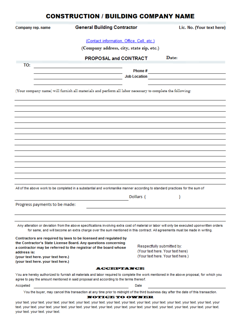 proposal contract templates