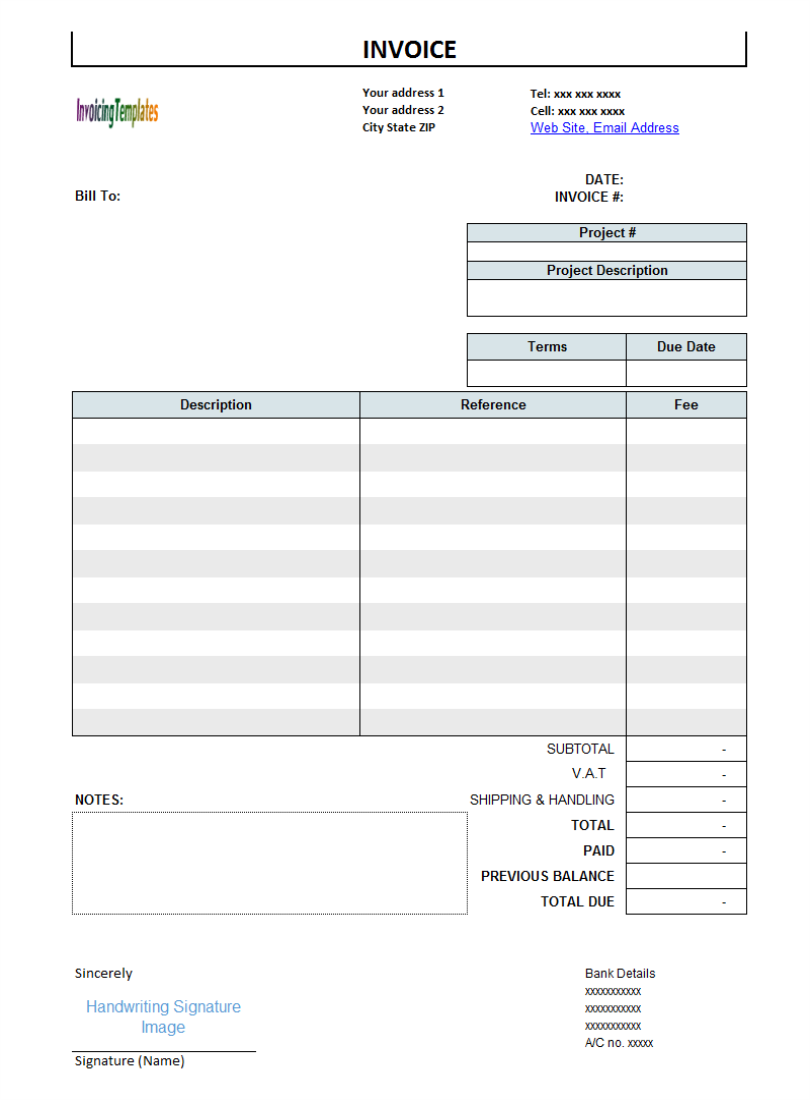 bill invoice template .