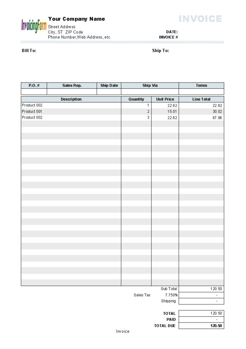 sales invoice definition - 10 results found