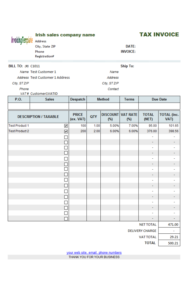 free template for invoice for services rendered