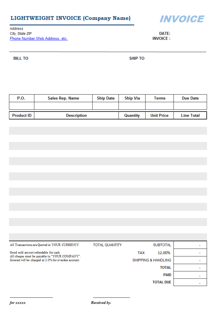 Printable Lightweight Sales Billing Form