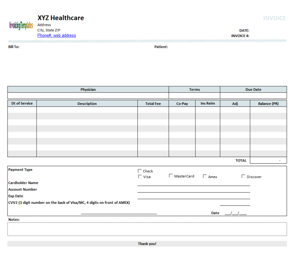 Medical Billing Sheet Template