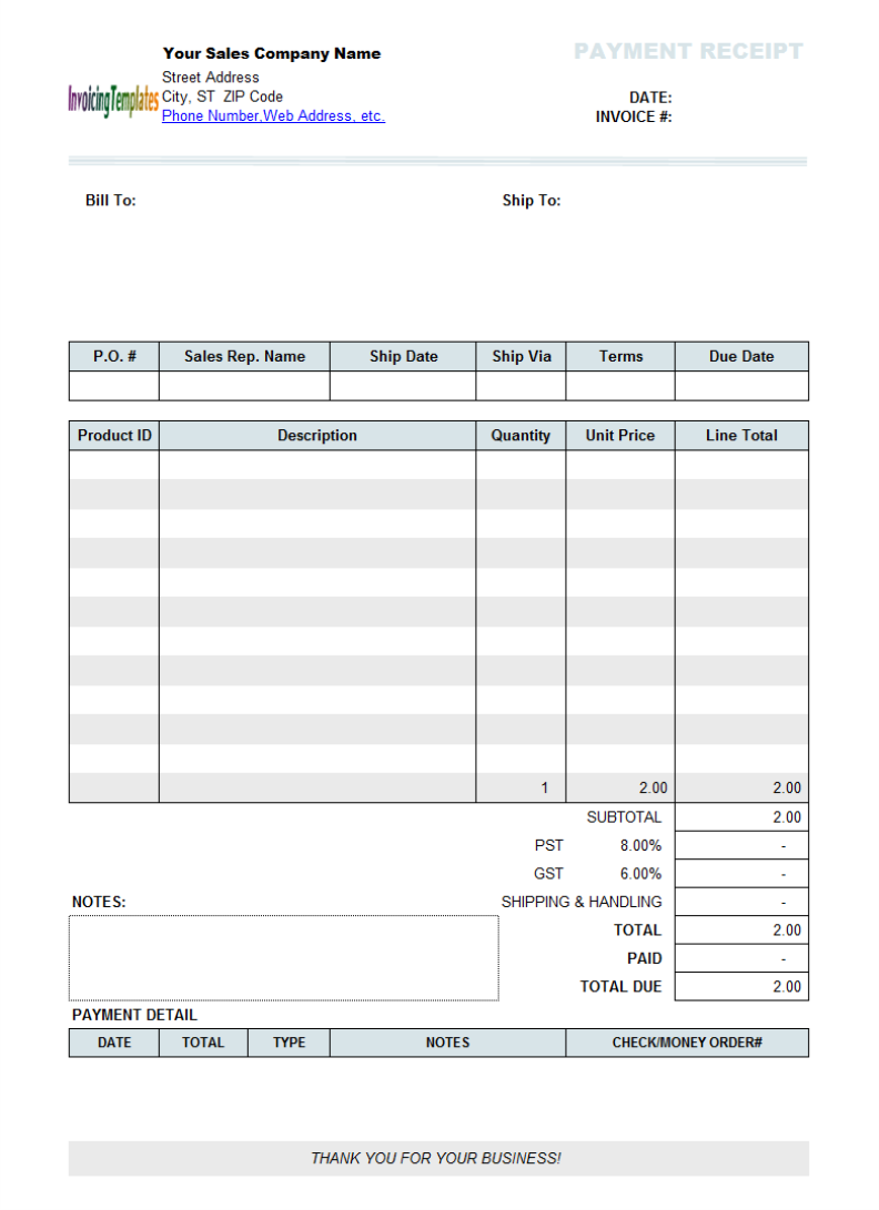 business receipt template word