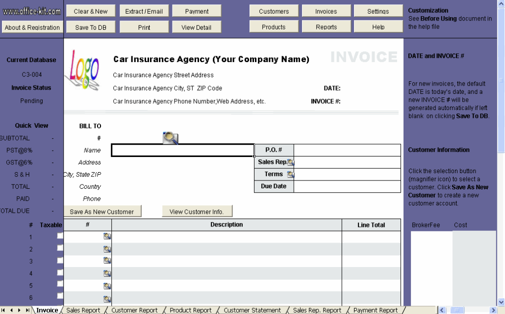 Download Insurance Invoice Template Free Rabitahnet - Insurance agency invoice template