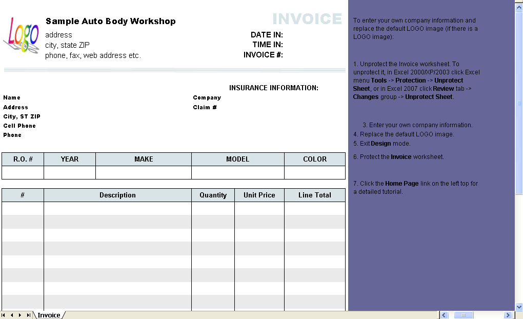 automotive repair invoice template - uniform invoice software, Invoice examples