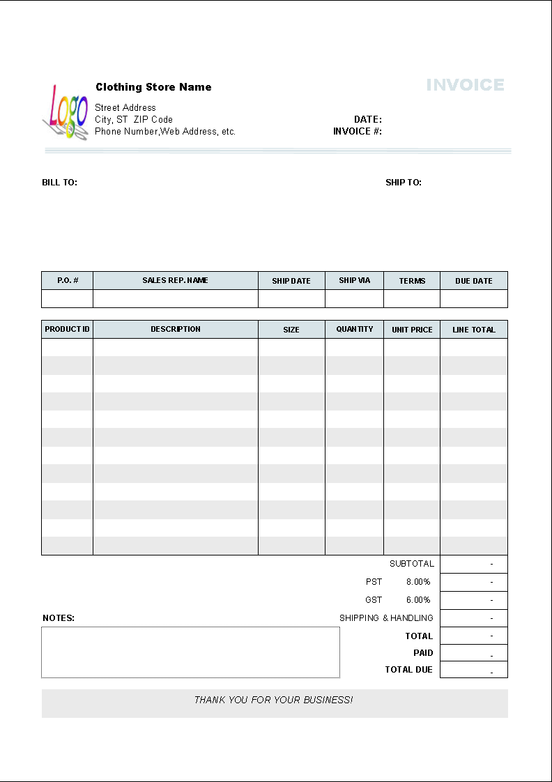 clothing store invoice template printed document