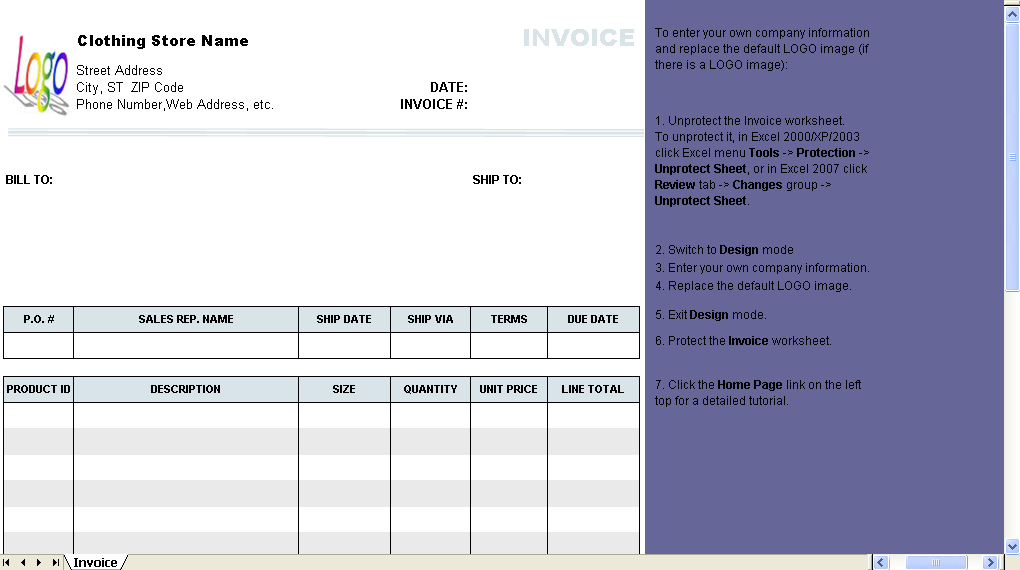 Clothing Store Invoice Template Uniform Invoice Software - Invoice template for excel 2007