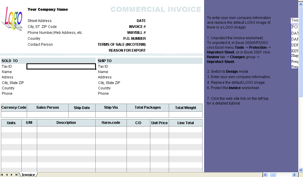 Commercial Receipt Form   Excel Worksheet  Printable Commercial Invoice