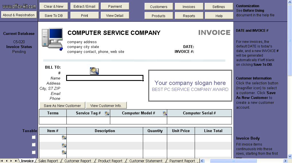 Computer Service Invoice Template Uniform Invoice Software - Program to create invoices for service business