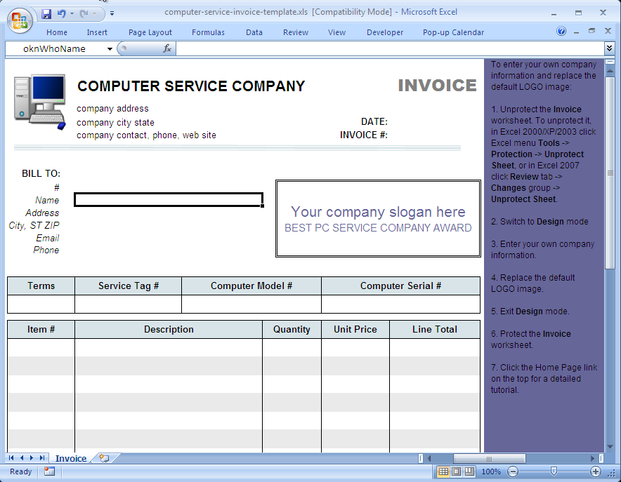 Computer Service Invoice Template Uniform Invoice Software - Excel service invoice template for service business