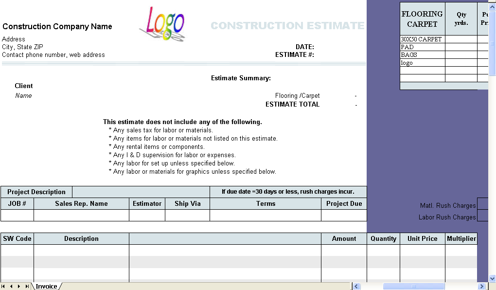 construction estimate template uniform invoice software