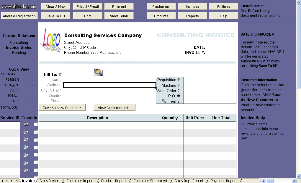 Consulting Invoice Form - Uniform Invoice Software edition