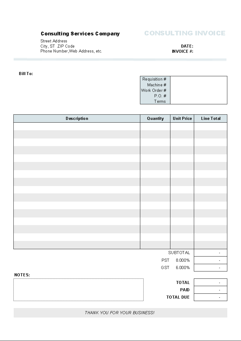 Awesome Consulting Invoice Form  Billing Spreadsheet Template