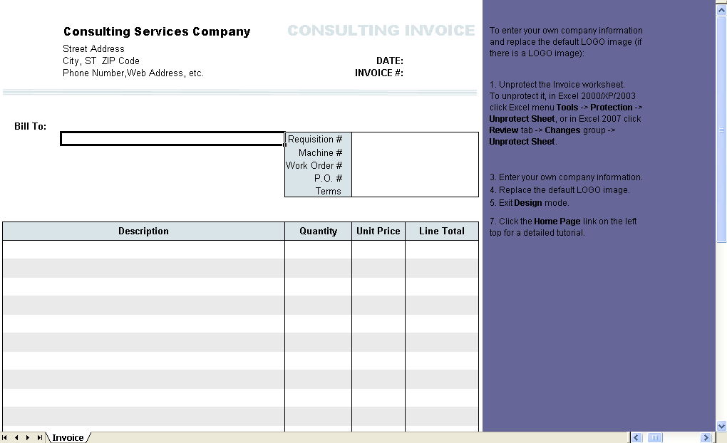 Consulting Invoice Form   Excel Worksheet  Invoice Form Excel