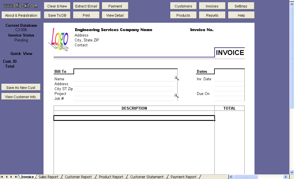 Engineering Service Invoice Template - Uniform Invoice Software edition