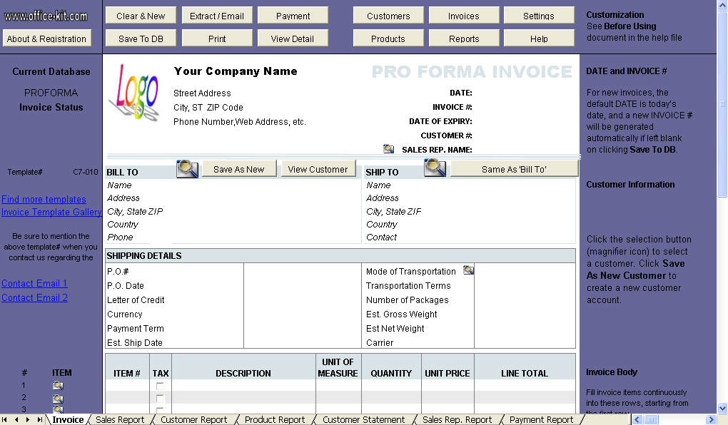 Free Proforma Invoice Template Uniform Invoice Software