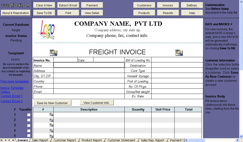 Freight Invoice Template Uniform Invoice Software