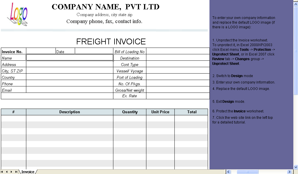 freight bill format excel worksheet