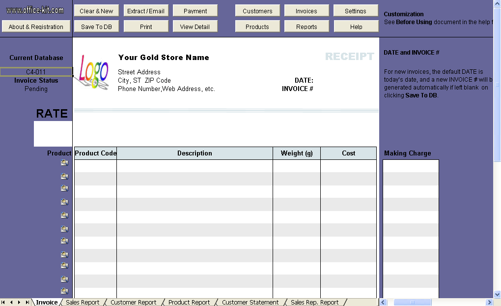 Gold Shop Receipt Template Uniform Invoice Software – Sample Receipts Templates