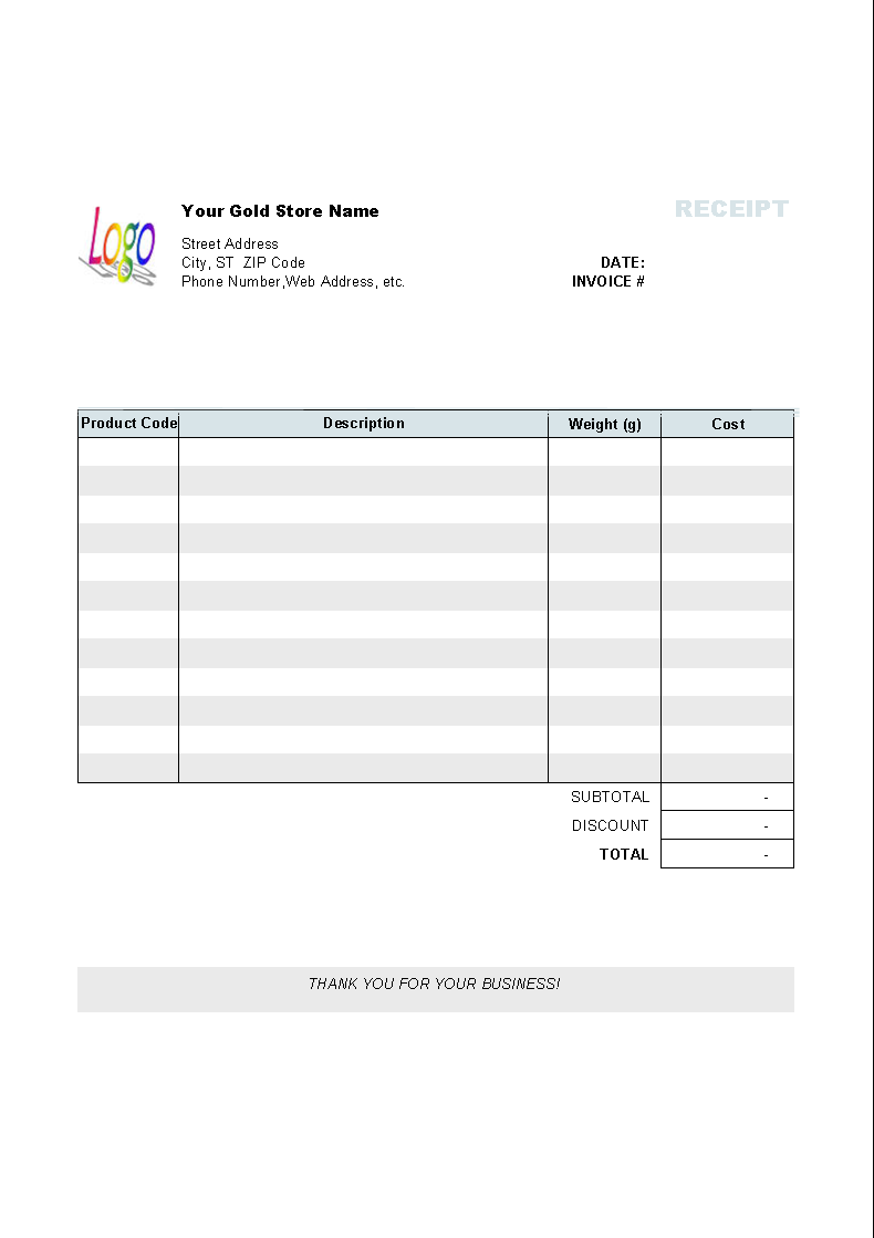 Gold Shop Receipt Template - Uniform Invoice Software