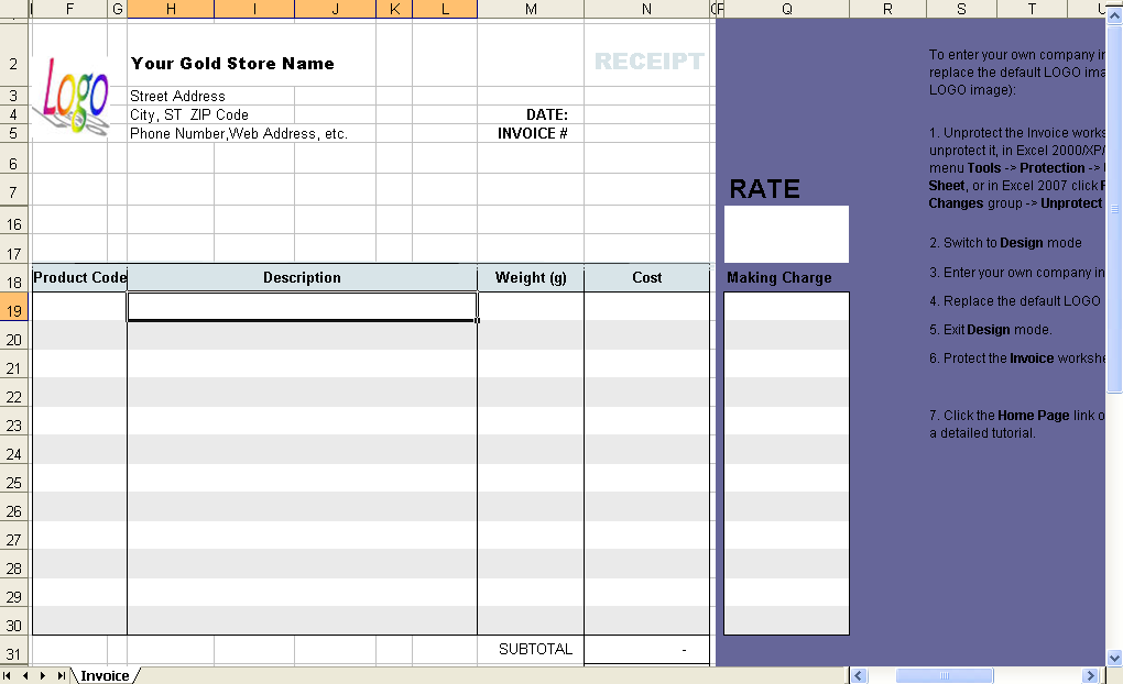 Sales Invoice Template - Shopping receipt template