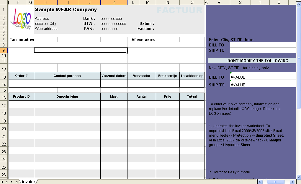 Holland Clothing Invoice Template - Invoice Manager for Excel