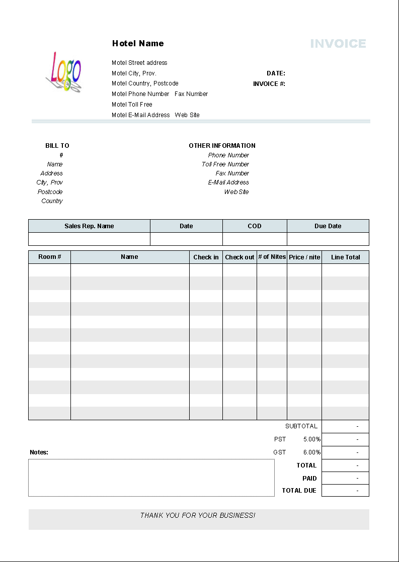 Hotel Service Invoice Template   Printed Document  Format For Invoice Bill