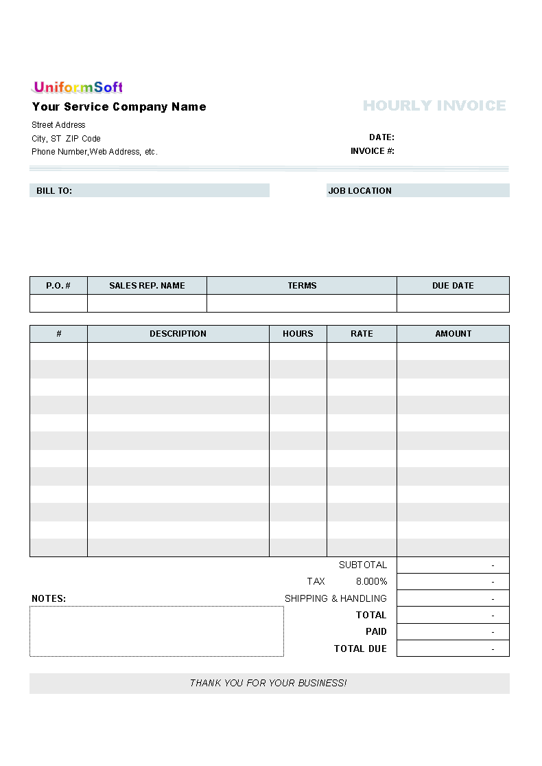 commercial invoice template for uniform invoice hourly invoice form