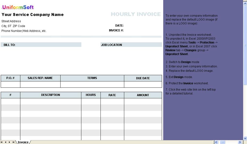 Click to view Hourly Invoice Form screenshots