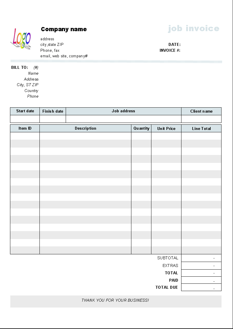 Job Service Invoice Template   Printed Document  Free Service Invoice