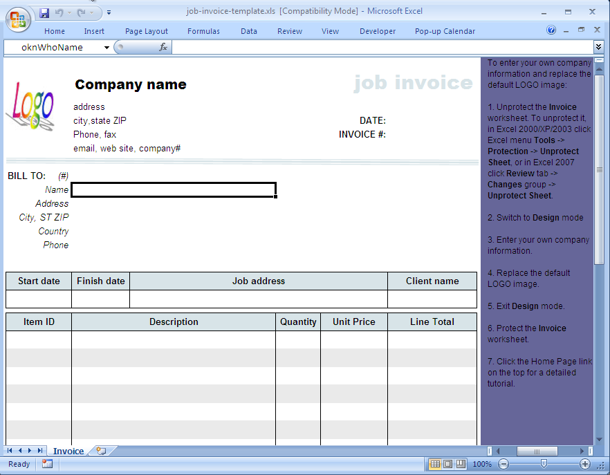 Job Service Invoice Template Uniform Invoice Software - Job work invoice format in excel for service business