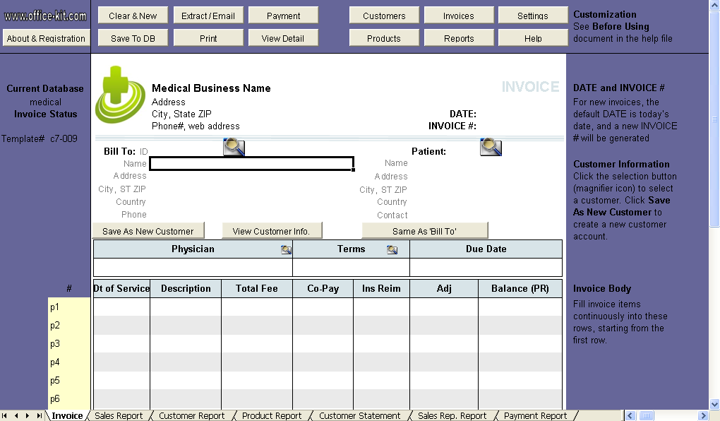 medical invoice template uniform invoice software. Black Bedroom Furniture Sets. Home Design Ideas