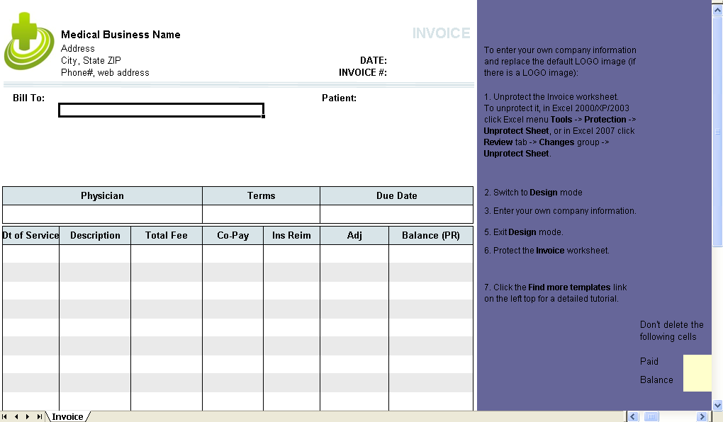 Medical invoice template uniform invoice software medical billing form excel worksheet maxwellsz