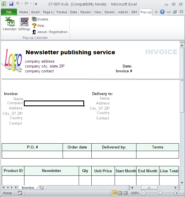 Newsletter Publishing Invoice Template - Excel worksheet