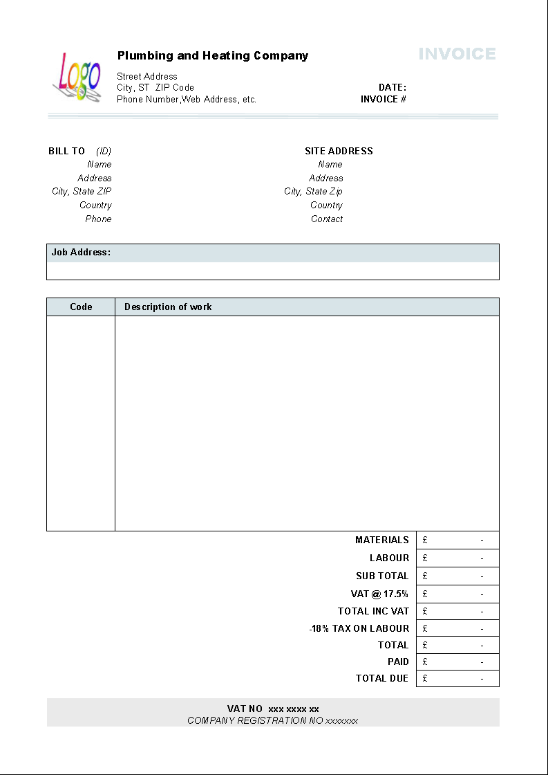 Plumbing And Heating Invoice Form   Printed Document  Free Plumbing Invoice Template