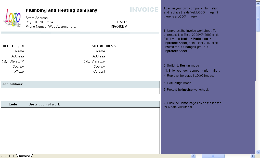 Plumbing and Heating Invoice Form Uniform Invoice Software – Plumbing Invoice