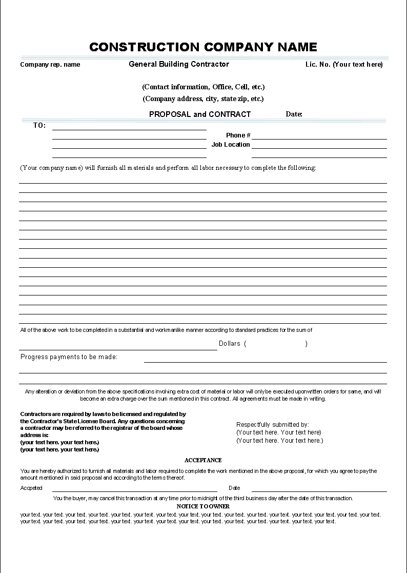 Proposal And Contract Template - Electrical contractor contract template