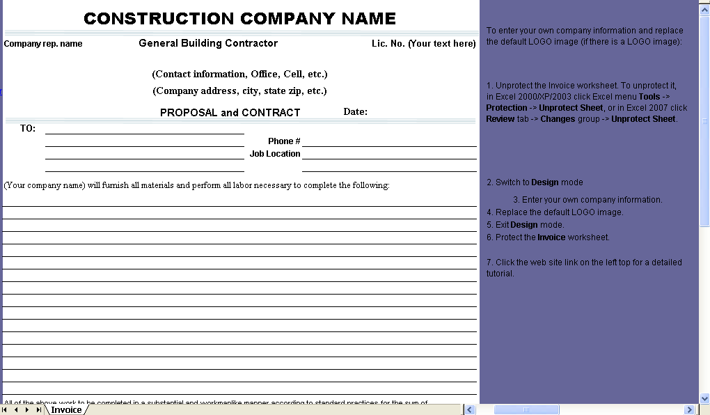 Proposal and Contract Form - Excel worksheet