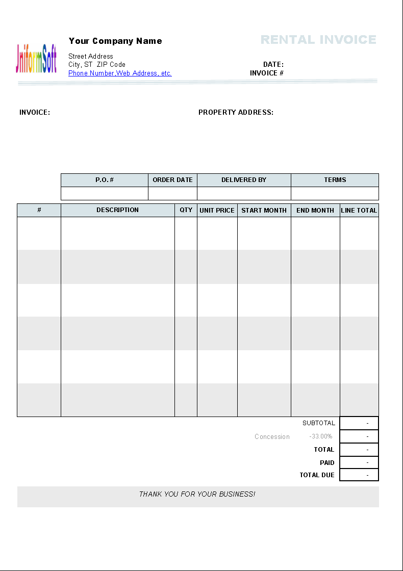 Rental Invoice Template Uniform Invoice Software