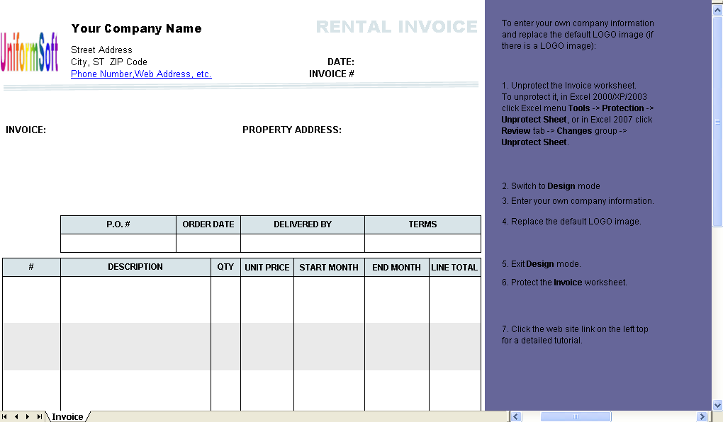 rental billing format excel worksheet