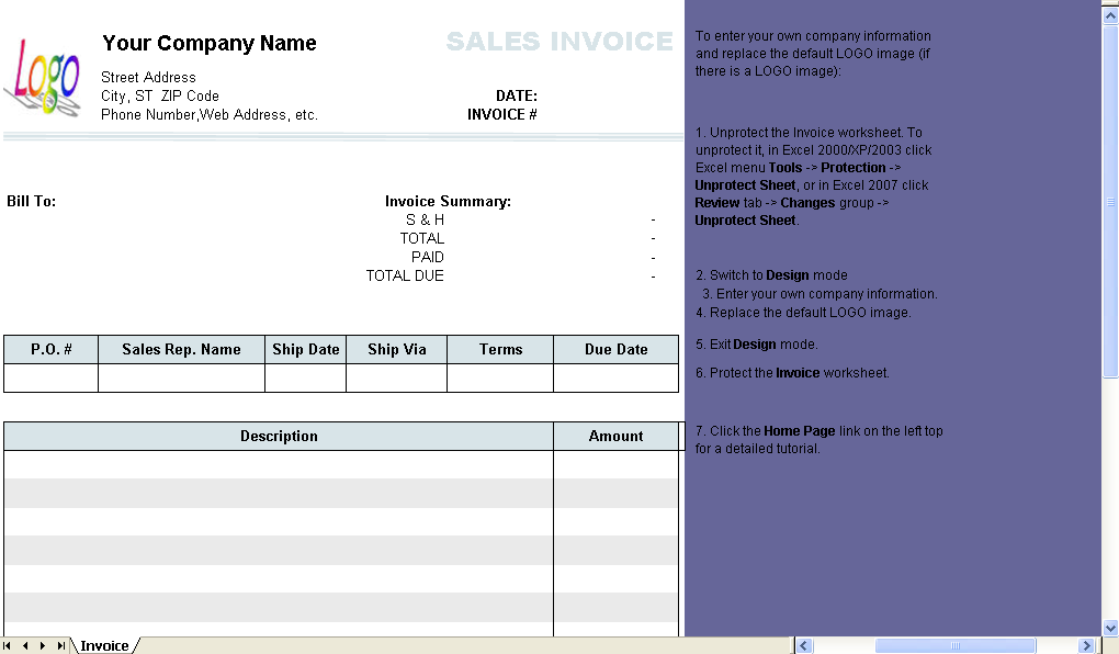 sales invoice with total on top  2 columns