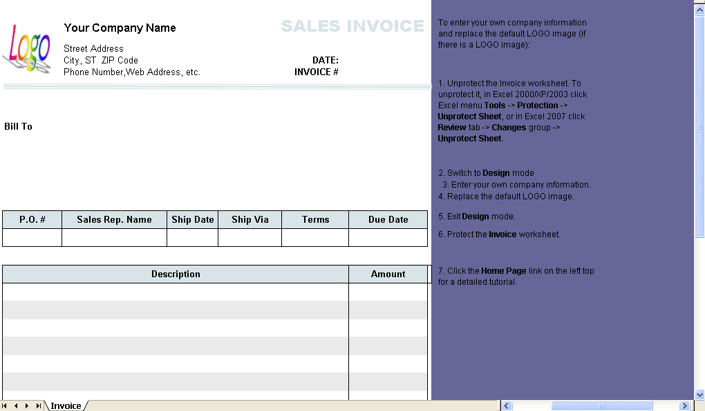 Sales Invoice (2 Columns, without Shipping) - Excel worksheet