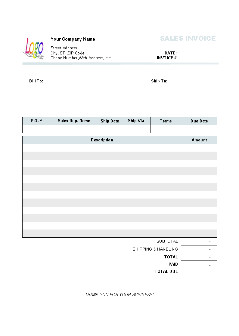 Sales Invoice (2 Columns, Without Tax)  Auto Invoice Template