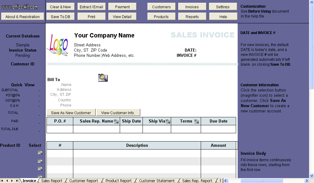 Sales Invoice (3 Columns, without Shipping) - Uniform Invoice Software
