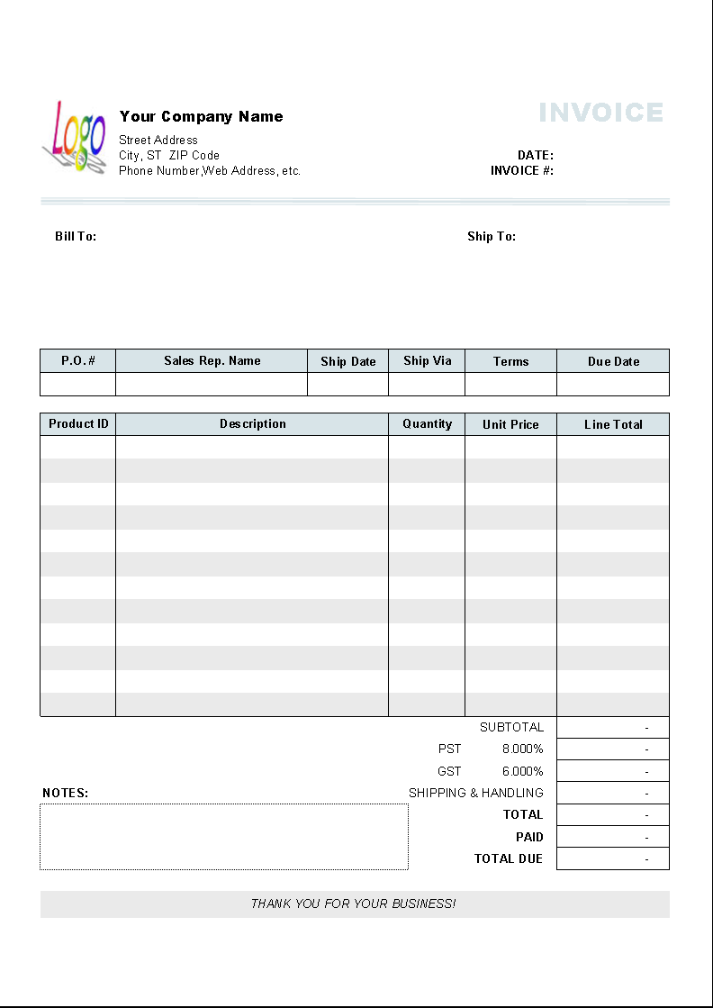 template with vat rate and amount columns